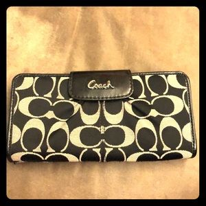 COACH Black & Grey Signature Large Snap Wallet